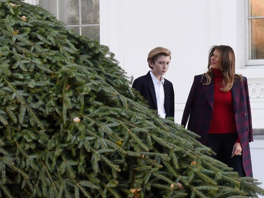 U.S. first lady Melania Trump receives the official White House Christmas tree - DC