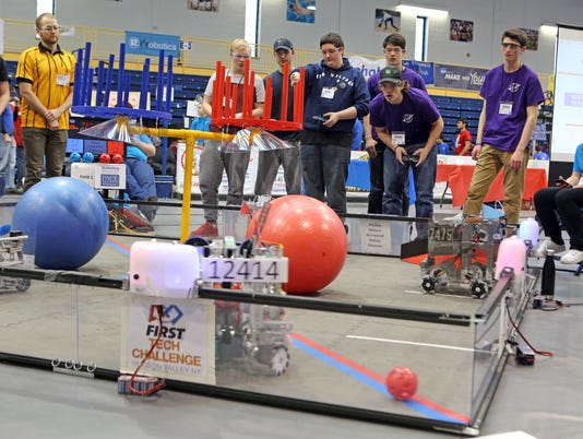 First Tech Challenge High Schools Battle In Robotics Competition