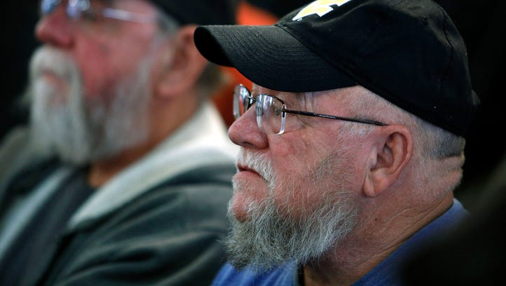 Coal miners at a town hall meeting in Matewan, W.Va.,