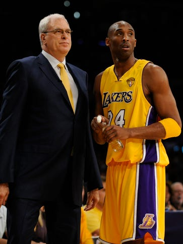 Kobe Bryant and Phil Jackson in game #7 of the NBA