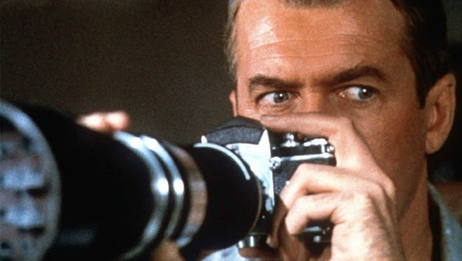 "Jimmy Stewart stars in ""Rear Window."""