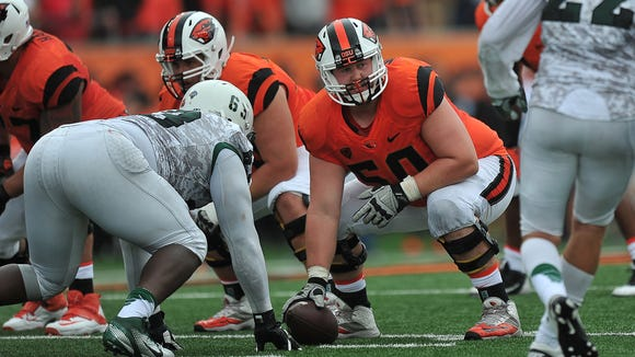 Josh Mitchell started all 12 games at center this season for the Beavers.
