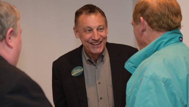 Ken Summers talks with supporters at his watch party on Tuesday, April 4, 2017.