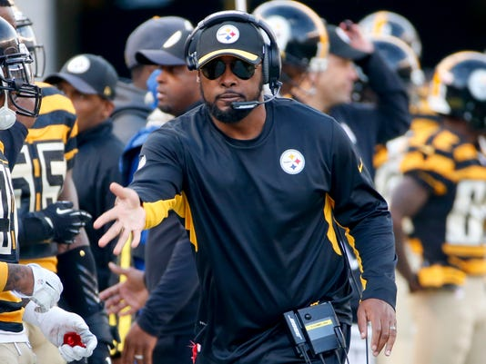 FILE - In this Sunday, Nov. 1, 2015 file photo, Pittsburgh Steelers head coach Mike Tomlin during an NFL football game against the Cincinnati Bengals in Pittsburgh. The Steelers have the 25th pick in the first round in next week's NFL draft in Chicago. (AP Photo/Gene J. Puskar, File)