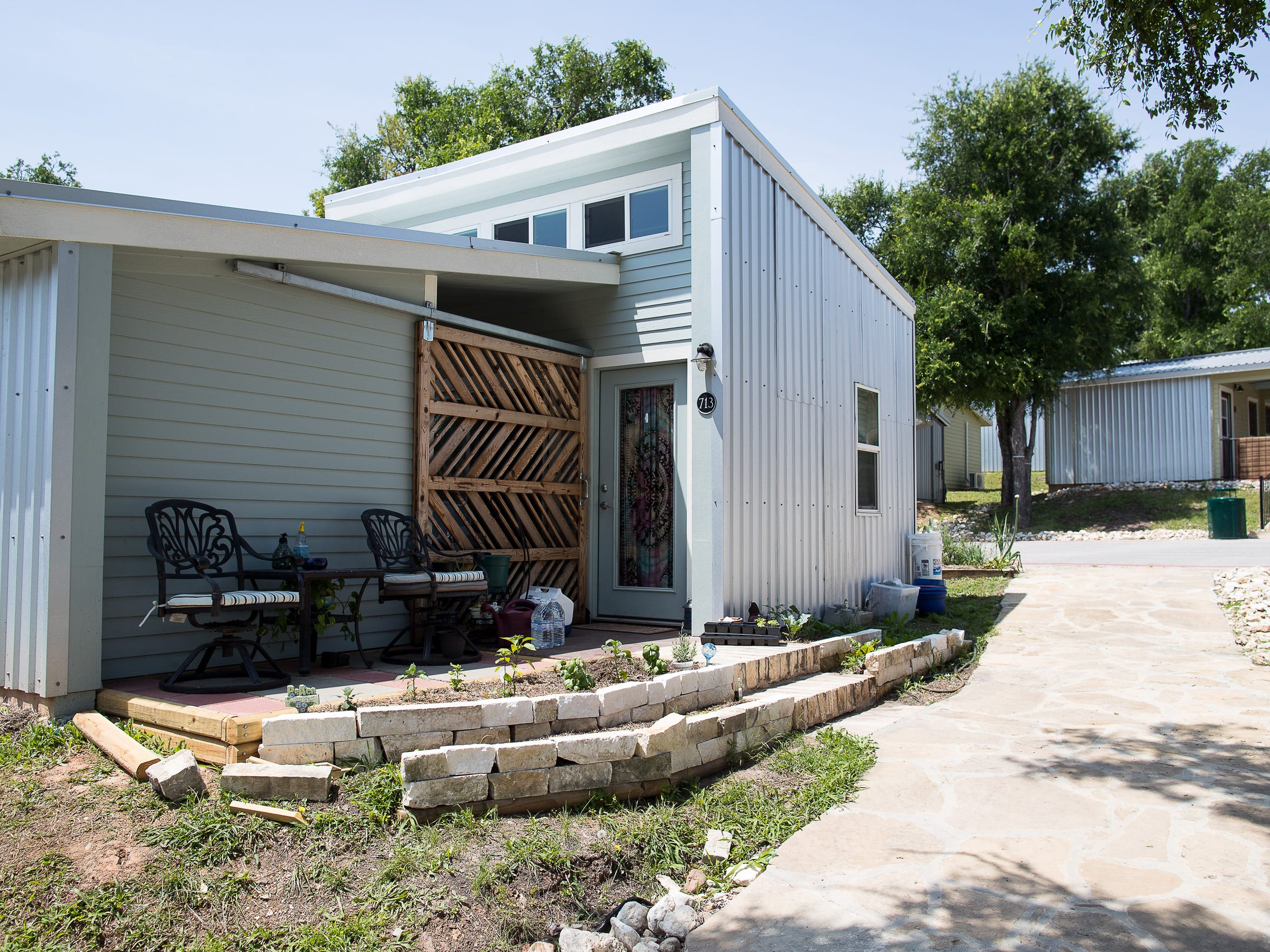 Tiny homes for the chronically homeless in the Community First! Village in Travis County Texas.