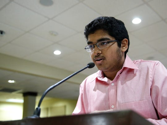 Teen Court defense attorney Akash Bhat presents the