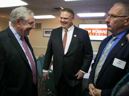 Colin Bonini (center) who's running for governor, chats with Steve Forbes (left), Chairman & Editor-In-Chief of Forbes Media, who makes a visit to the University and Whist Club in Wilmington to show his support. Forbes was also a Republican candidate in the 1996 and 2000 Presidential primaries.