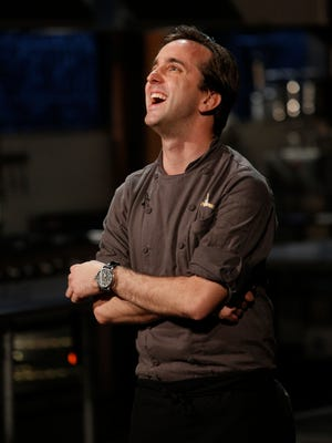Chef Bradley Stelllings is joyful when he hears he as won the Chopped Redemption Challenge, as seen on Food Network's Chopped, Season 23.