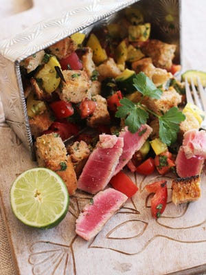 Grilled tuna panzanella is a delicious alternative to boring baked fish.