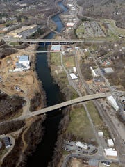 The view looking down on development along the French Broad River in the River Arts District.