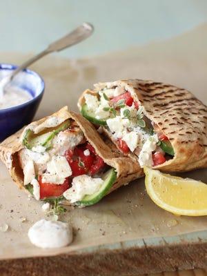 Grilled Greek chicken pitas.