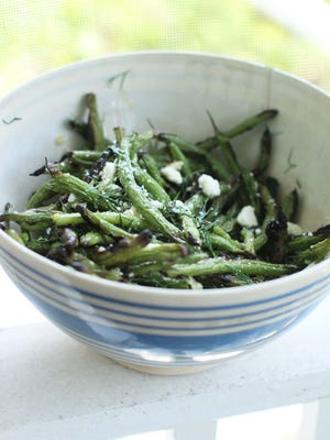 Grilled green beans with honey, feta and dill.
