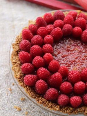 Raspberry rhubarb cream pie with oatmeal crust.