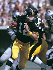 Pittsburgh Steelers quarterback Terry Bradshaw in action