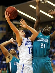 Guard David Robertson (13), is Asheville's top returning scorer at 10.7 points per game.
