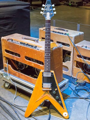 This 1958 Gibson  Flying V guitar, originally sold by Arthur's Music Store in  Fountain Square, recently was brought back for a visit by its new owner, blues-rock artist Joe Bonamassa.