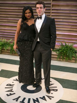 Mindy Kaling and B.J. Novak arrive to the 2014 Vanity Fair Oscar Party on March 2, 2014 in West Hollywood, California. AFP PHOTO/ADRIAN SANCHEZ-GONZALEZADRIAN SANCHEZ-GONZALEZ/AFP/Getty Images ORG XMIT: 470941293 ORIG FILE ID: 527674875