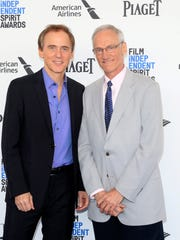 """""""Spotlight"""" actor Neal Huff (left) and Phil Saviano, the real man Huff plays onscreen, arrive at the Independent Spirit Awards."""