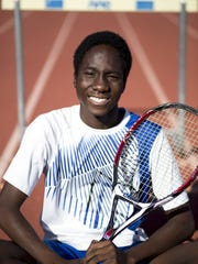 A portrait of Desmond Kumi (track and tennis), March 15, 2016 at Dobson High School.