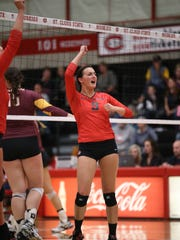 St. Cloud State senior middle hitter Macy Weller celebrates a point last season for the Huskies at Halenbeck Hall. St. Cloud State will play a match in Weller's hometown of Sauk Centre on Oct. 4 against Bemidji State.