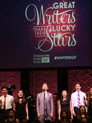 Students from the Mayo Performing Arts Center were among the featured entertainers (shown here with Aaron Tveit) at the annual Dramatists Guild Fund Gala 'Great Writers Thank Their Lucky Stars: The Presidential Edition' presentation at Gotham Hall on November 7, 2016 in New York City.