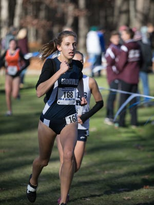 Bronxville's Kaitlyn Ryan competes at the 2016 New York State Cross Country Championships at Chenango Valley State Park on Saturday, Nov. 12th, 2016.