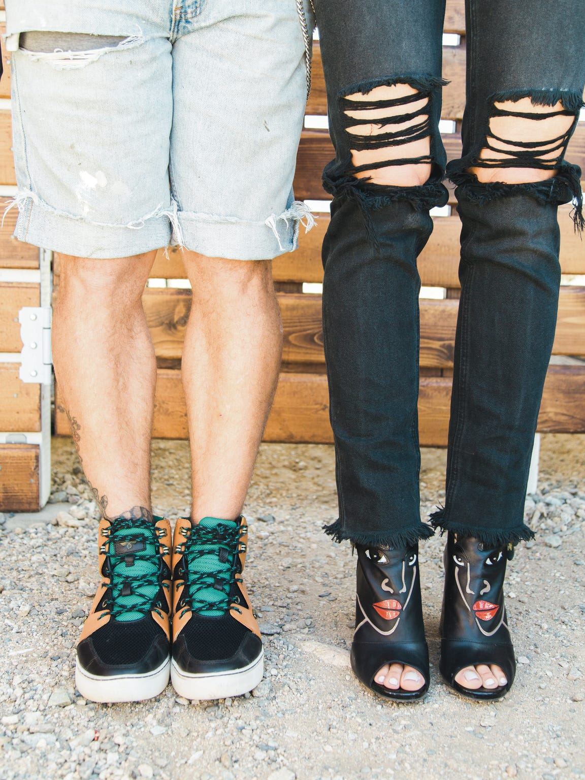 On Nikko (right): Creative Recreation shoes. On Tienlyn (left): Loriblu shoes.