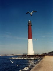 Barnegat Lighthouse, depicted in an art piece by Karen