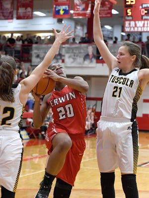Erwin and Tuscola faced off in the girls WMAC tournament at Erwin High School on Friday, Feb. 16, 2018. The Warriors defeated the Mountaineers 45-43 to take the title.