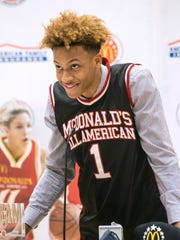 Romeo Langford speaks during Thursday's ceremony.