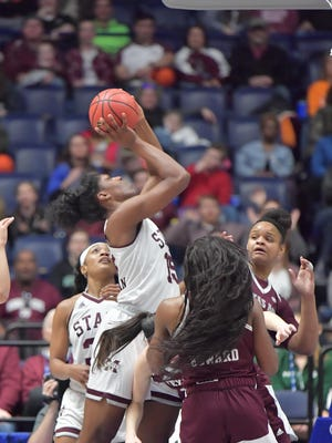 Mississippi State Lady Bulldogs center Teaira McCowan (15) shoots the ball against the Texas A&M Aggies during the first half of a semi final game at Bridgestone Arena. Mandatory Credit: Jim Brown-USA TODAY Sport