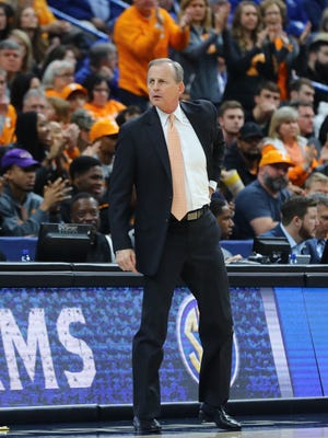 Mar 11, 2018; St. Louis, MO, USA; Tennessee Volunteers head coach Rick Barnes looks down the court during the first half of the SEC Conference Tournament Championship game against the Kentucky Wildcats at Scottrade Center. Mandatory Credit: Billy Hurst-USA TODAY Sports