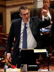 Sen. Randy Feenstra, R-Hull, speaks during debate on