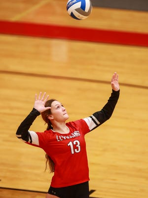 Levelland's Allie Latham (13) serves the ball during a nondistrict match Tuesday against Canyon at Levelland High School.