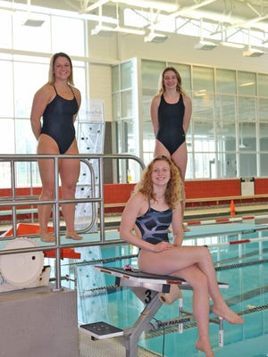 The Coldwater trio of (back row, from left) Mia Rzepka and Charlotte Calhoun, along with Jillian McKinley (seated) finished off their season at the MHSAA State Finals this weekend.
