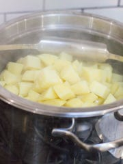 Cut potatoes into 2- to 3-inch chunks to ensure proper