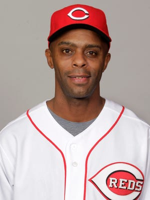 This is a 2012 photo of Delino DeShields of the Cincinnati Reds baseball team. This image reflects the Cincinnati Reds active roster as of Feb. 25, 2012 when this image was taken. (AP Photo/Jae C. Hong)