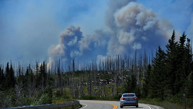 The Reynolds Creek Fire on the eastside of Glacier National Park doubled in size Wednesday.