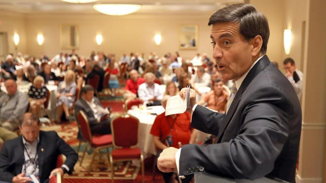 Republican National Committeeman Bill Palatucci speaks during the New Jersey delegation breakfast at the Doubletree Hotel in Beachwood, Ohio, on Monday.