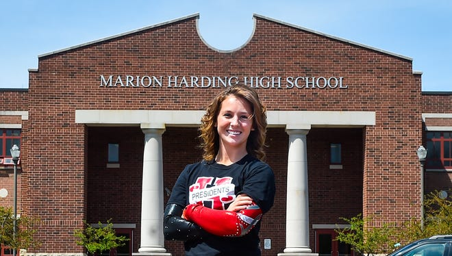 Harding senior gymnast Ashleigh Lindsey was chosen as the Fahey Bank Athlete of the Month for March.
