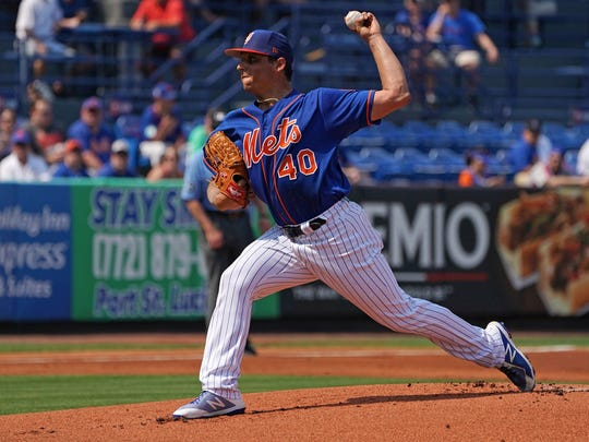 Mar 1, 2018; Port St. Lucie, FL, USA; New York Mets starting pitcher Jason Vargas (40) delivers a pitch in the first inning against the Miami Marlins during a spring training game at First Data Field.