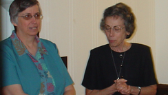 Nuns and nurse practitioners Paula Merrill, left, and