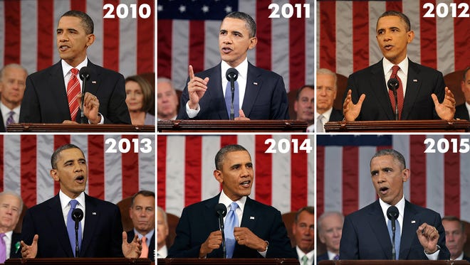 President Obama's State of the Union addresses, over the years.