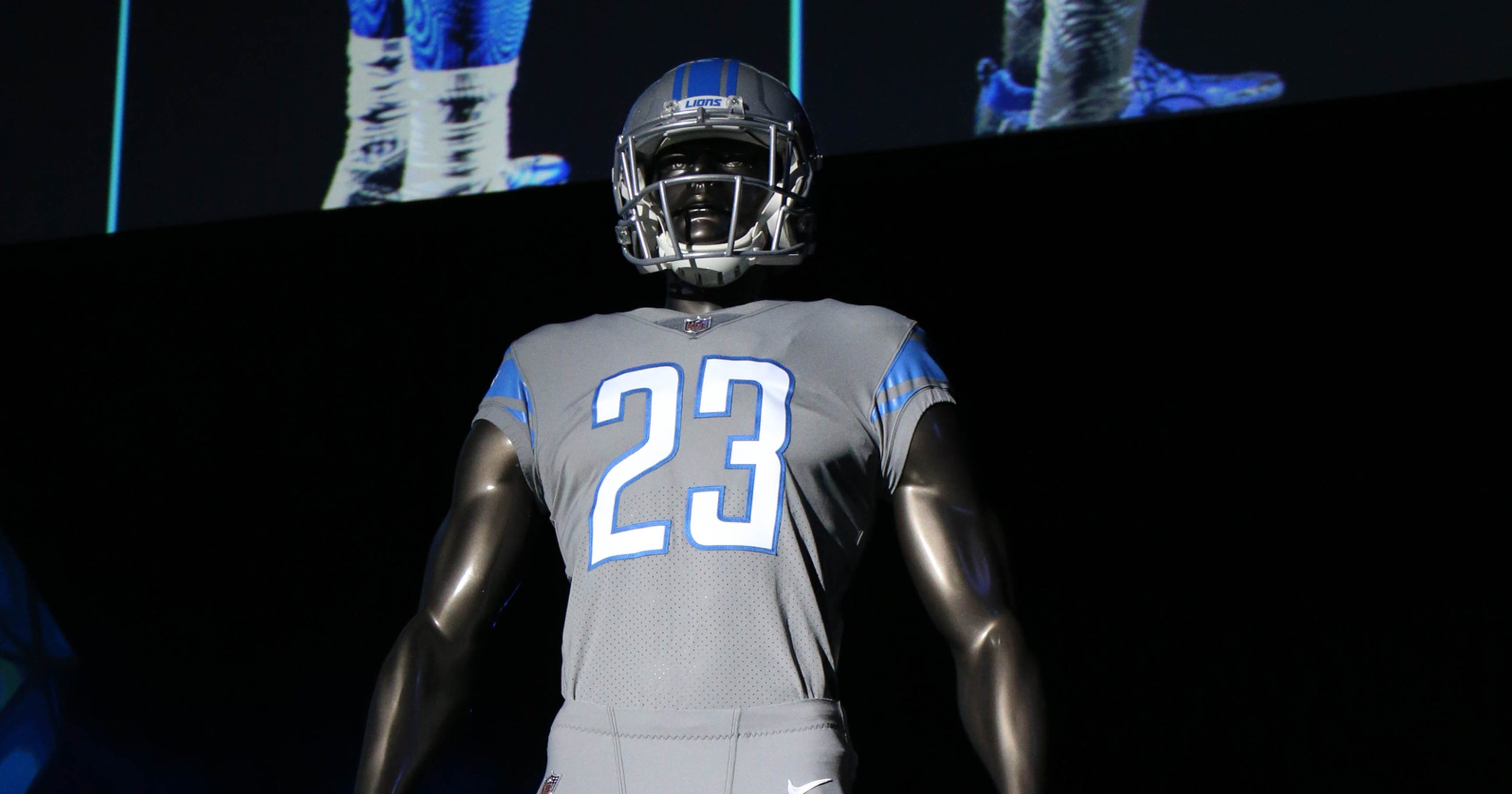 Detroit Lions to wear all 4 uniforms  gray Color Rush coming Dec. 16 93fc5afd4