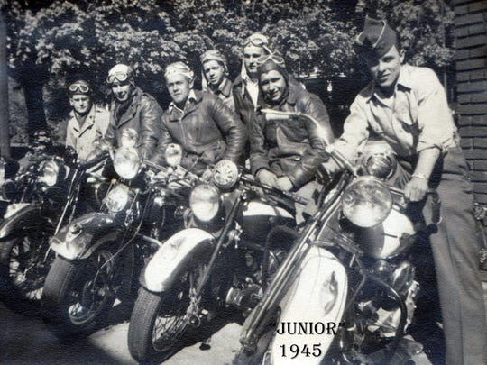"""Junior"" and his friends ready for a bike ride on Lincoln Way East at the East Point in Chambersburg in 1945."