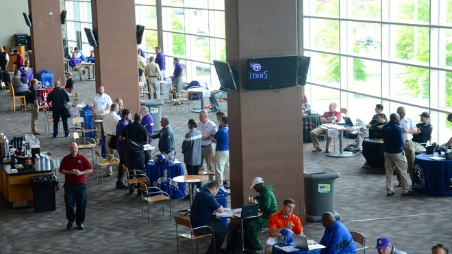 Around 120 high school and college football coaches attended the Tennessee Titans and Tennessee Football Coaches Association High School Football Recruiting Fair on Tuesday at LP Field.