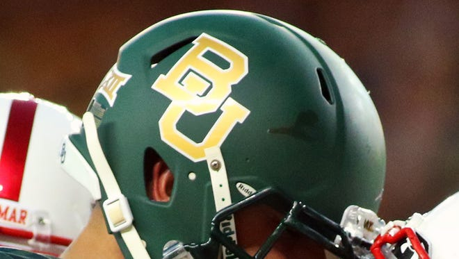 A Baylor Bears helmet is shown in a 2015 game.