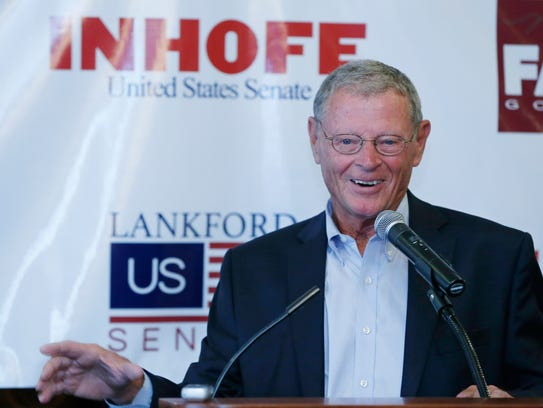 Sen. Jim Inhofe, R-Oklahoma, gestures as he speaks