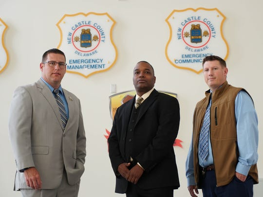 Brian Shahan, a detective with the New Castle County Police, New Castle County Police Cpt. John Treadwell and Paul Woodland, deputy chief of police for the U.S. Department of Veterans Affairs.