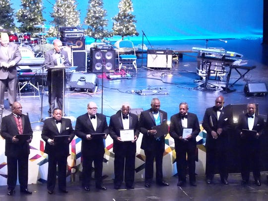 Directors and chairmen from the 100 Black Men of West Tennessee are recognized for their service during the 22nd annual Scholarship Benefit Gala Saturday night at the Carl Perkins Civic Center.
